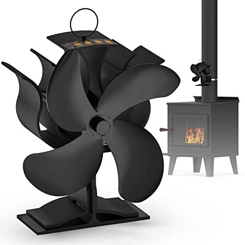 Ventilador de chimenea giratorio con 4 aspas con barra de temperatura, sin electricidad para estufas de leña, estufas de gas, estufas de pellets (2 en 1)