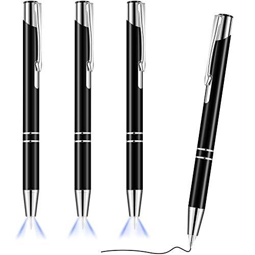4 Stücke Beleuchteter Spitze Stift Kugelschreiber mit Licht Taschenlampe LED Lichtstift LED Taschenlampe Leuchtstift zum Schreiben im Dunkeln (Schwarz)