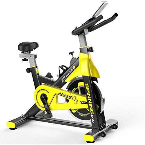 LDFANG Cyclette Coperta, Ultra-Silenzioso Sedile Regolabile, Pedale Cyclette Formazione Home Fitness, 20 kg del Volano, Giallo
