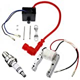 YOFMOO High Performance 2-Wire Magneto Coil Kit with CDI Ignition Coil Spark Plug Compatible for 49cc - 50cc 60cc 66cc 80cc 2-stroke Engines Motorized Bicycle Motor Bike ATV Quad Scooter