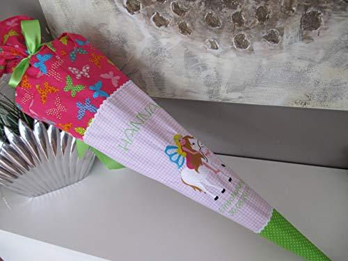 #161 Prinzessin, Elfe auf Einhorn, Pferd, Fee, Schultüte Zuckertüte Stoff + Papprohling + als Kissen verwendbar