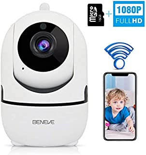 Wireless Security 1080P HD Camera with Two-way Audio - BENEVE WiFi Security Dome Surveillance IP Camera Home Baby Monitor with Motion Detection Night Vision, Built-in 16GB High Speed Micro SD Card, Re