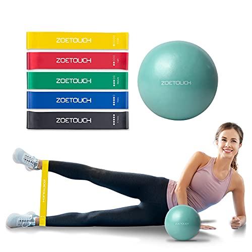 ZOETOUCH Widerstandsbänder, Pilates Ball klein 25cm und Fitnessbänder, 5 Strengths Latex Sportbänder Set, Anti-Burst Trainingsball für Yoga, Pilates, Gymnastik, Büro