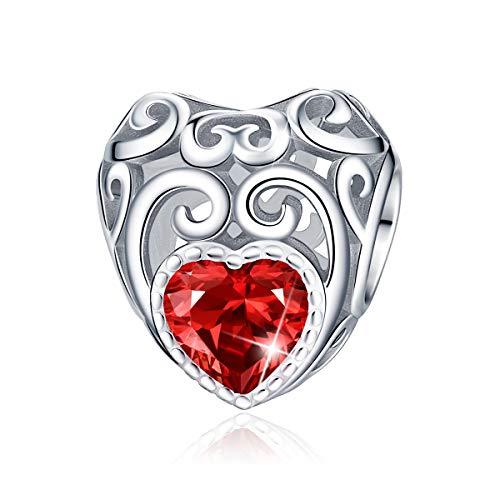 Forever Queen Dames november geboortesteen hartvorm Charm Bead geschikt voor armband 925 sterling zilver Charm hanger Hartelijk felicitatie voor verjaardag, Jan-Dec 12 kleuren met geschenkdoos