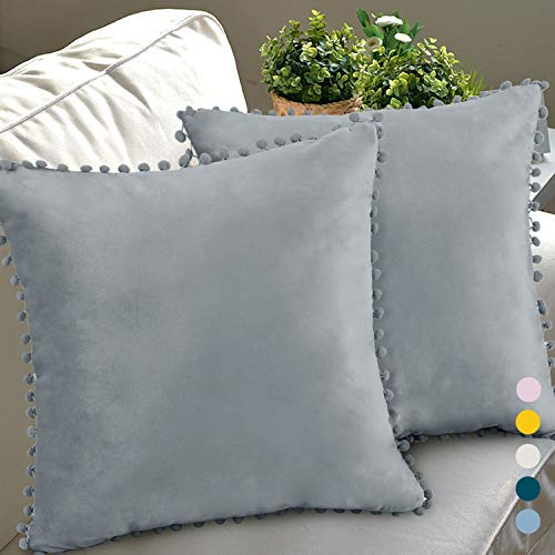 Chlophy Pom Poms Cushion Covers Silver Velvet 18×18IN Set of 2 45×45CM Light Grey Cushion Cases Gray Fringe Dusty Blue Couch Sofa Trim Throw Pillow Covers 2 Pack