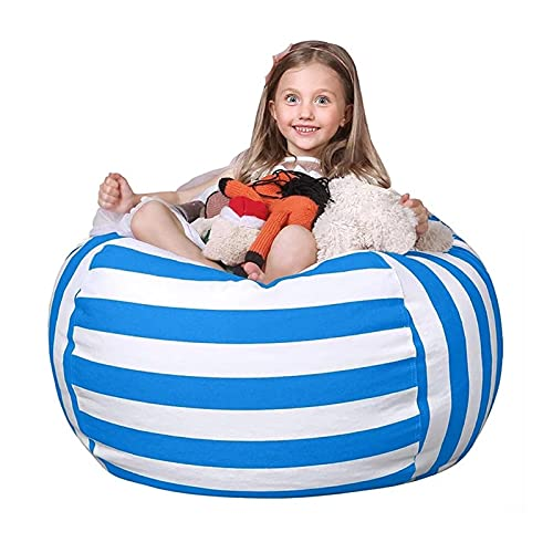 HOYOCE Gedruckte Kid Sitzsackbezug Ohne Füllstoff Lazy Couch Covers Decken Toy Organizer Sitzsack Kissen Sitzsack Bed Pouf Puff Couch,Blue Stripes,24'