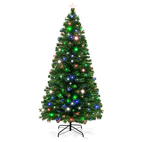 Best Choice Products 7-Foot Pre-Lit Fiber Optic Artificial Christmas Pine Tree with 280 UL-Certified 4-Color LED Lights,...