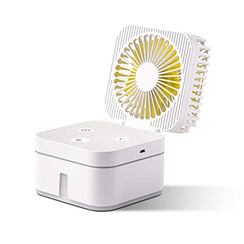 Wanggang Ventilador del humidificador Home Office de Escritorio USB del Ventilador del Aerosol del Cubo de Rubik humidificador,Blanco