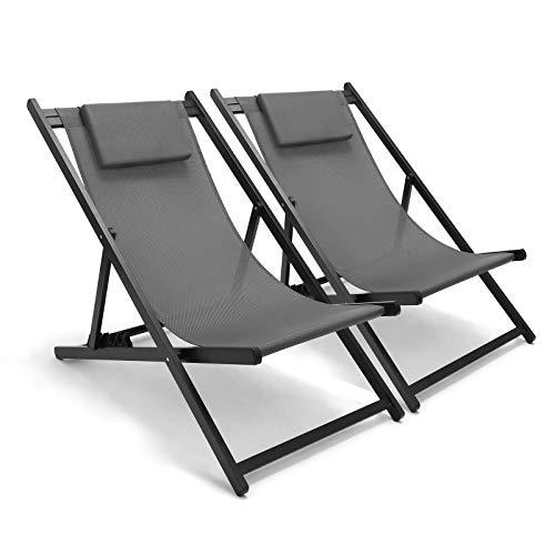 GARTIO Relaxliege Liegestuhl, Aluminiume Sonnenliege 2er Set, Gartenliege Gartenstuhl mit 6 verstellbaren Rückenlehnen, ergonomische Kippliege Schwungliege für Garten Hinterhof Balkon Terrasse Pool