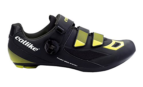 CATLIKE Talent Road 2016, Zapatillas de Ciclismo de Carretera Unisex Adulto, Negro (Negro/Amarillo 000), 41 EU