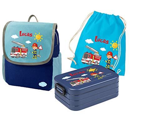 Mein Zwergenland - Brotdosen Sets für Kinder in Feuerwehr, Größe SET 4: Rucksack, Brotdose, Turnbeutel