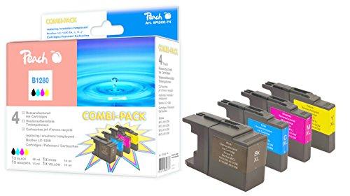 Peach Spar Pack Tintenpatronen, XL-Füllung, kompatibel zu Brother LC-1280