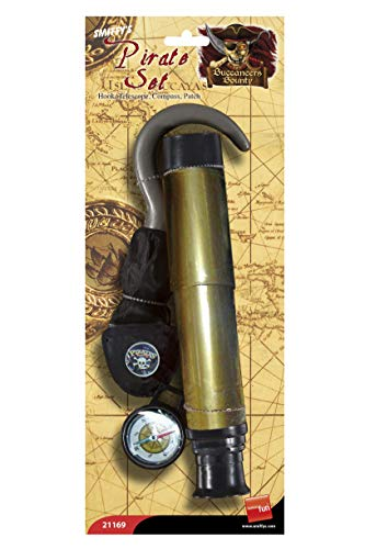 Smiffys Panoplie pirate avec crochet, téléscope, compas et poche-œil