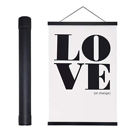 Benjia Magnetisch Posterschiene, Magnet Magnetische A3 30 x 40 Posterrahmen Holz Posterleiste Posterhänger für drucken Kunstwerk (30cm, Schwarz)
