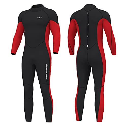 Hevto Wetsuits Men Guardian 3mm Neoprene Fullsuit Thermal Scuba Diving Suits Surfing Swimming Long Sleeve for Water Sports (G-Men Red, XXL)