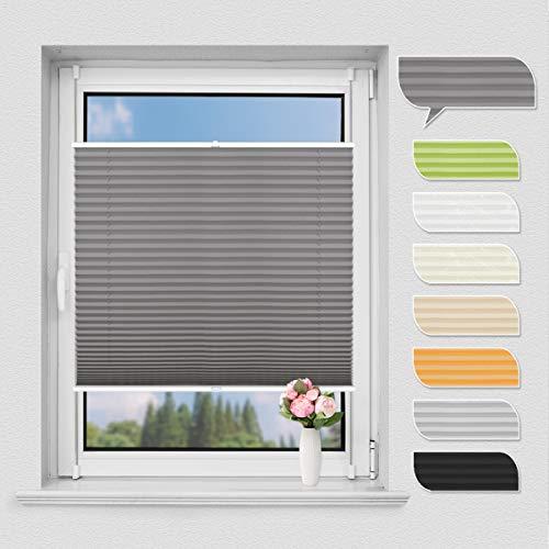 NoCon Plissee Klemmfix ohne Bohren Jalousie für Fenster & Tür Sichtschutz Easyfix Plisseerollo mit Klemmträger verspannt, 100x130cm (BxH) Anthrazit
