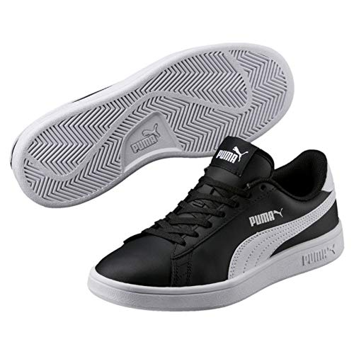 PUMA Smash v2 L Jr, Zapatillas Unisex Niños, Black White, 38 EU