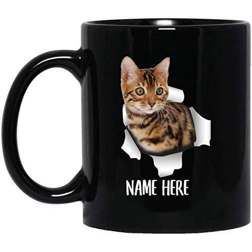 Funny Personalized Bengal Cat Kitten Brown Custom Name Black Coffee Mug 11oz