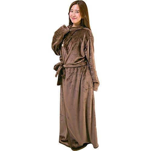 アイリスプラザ 毛布 着る毛布 150cm丈 ルームウェア フランネルマイクロファイバー とろけるような肌触り 静電気防止 洗える ブラウン