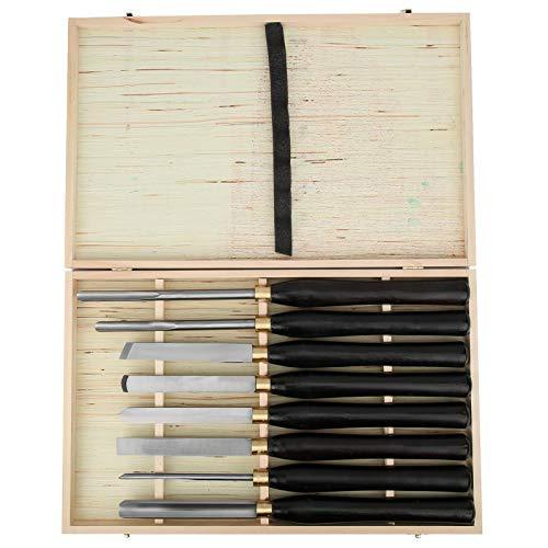 Cincel de torno anticorrosión Simple y cómodo Gubia de torneado de madera Acero de alta velocidad 8 piezas para cuencos de husillo
