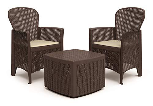 Dmora Set da Giardino con Cuscini, 2 poltrone e 1 tavolino Contenitore da Esterno, Made in Italy, Color Marrone