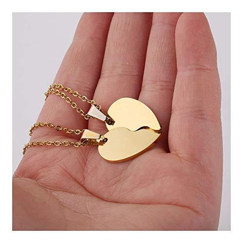 Accesorios 2pcs / Lot par de Acero Inoxidable Collar Corazón Colgante for Puzzle Hombres Brillantes de Las Mujeres del corazón del Oro Doble Colgante Regalo (Metal Color : Gold)