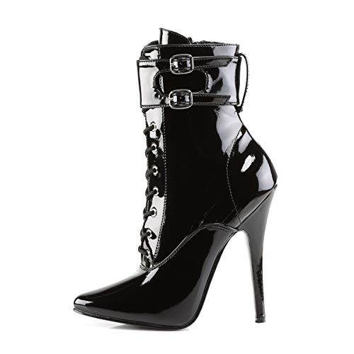 Devious DOMINA-1023, Bottines Femme, Black Pat, 45 EU