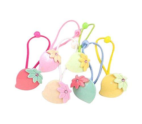 12 pièces Lovely Rubber Bands Hair Ropes Cravates de cheveux pour les enfants, les feuilles