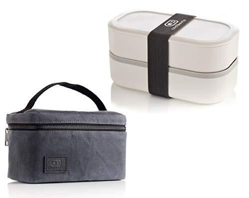 Bento Box & isolierte Kühltasche, auslaufsicher, BPA-frei & mikrowellengeeignet, Bento Box, 1,2 l, stapelbar, 2 Etagen, japanische Lunchbox mit Trennfächern für Erwachsene – Kinder von Coolbento®