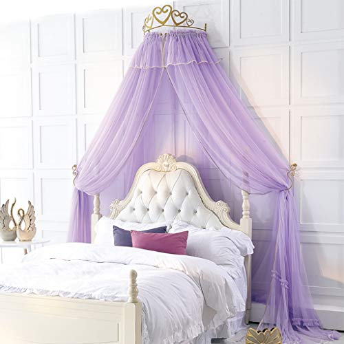 CJJC Princesa Sueño Kids Mosquitera, Elegante Simple de Longitud de diseño de la Cremallera Cama con Dosel con la Corona para la decoración del Dormitorio Purple 200cm