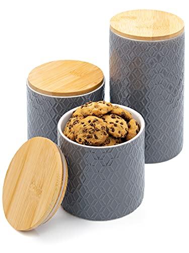 3 Barattoli in Ceramica con Coperchio in Legno - Grigio - Coperchio con Guarnizione - Lavabile in Lavastoviglie