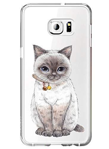 Custodia Compatibile per Samsung Galaxy S7 Trasparente Galaxy S7 Cover Silicone Simpatico Panda Disegno Animale Ultra Slim Custodia Antiurto No-Slip Anti-Graffio Morbido Case (Gatto)