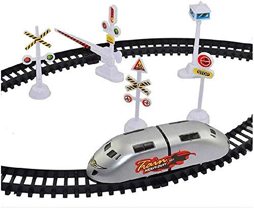 Skyzal Plastic High-Speed Battery Operated Bullet Train Toy Set Game with Tracks and Signals for Kids, Pack of 1, Multicolor