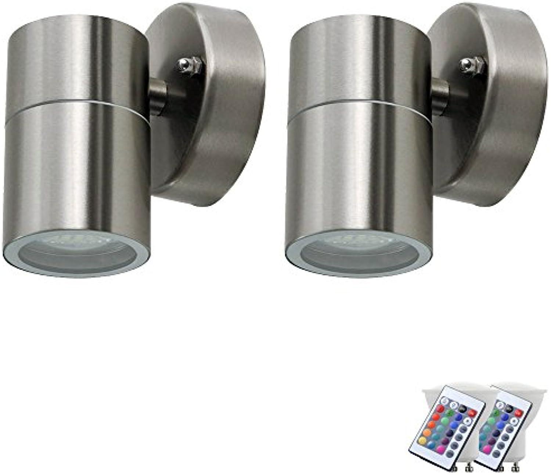 2er Set RGB LED Fassaden Down Lampen Fernbedienung Auen Wand Leuchten dimmbar Glas Strahler matt