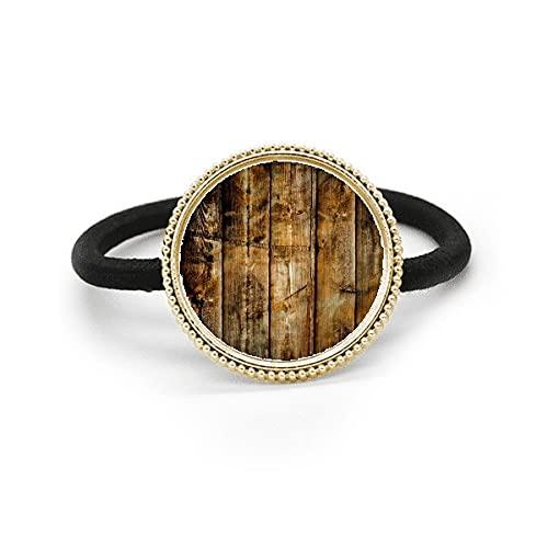 Corbata de pelo de metal plateado irregular de madera negra y tocado de goma
