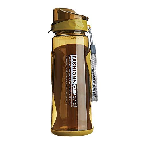 Botella de Agua Deportiva Abierta de 800 Ml, para Viajes, Camping, A Prueba de Fugas, para Gimnasio, Ciclismo, Correr, Yoga, Senderismo, Color Amarillo