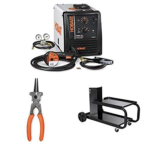 Hobart 500559 Handler 140 MIG Welder 115V with Hobart 770150 Multi-Use Welding Pliers and Small Running Gear/Cylinder Rack