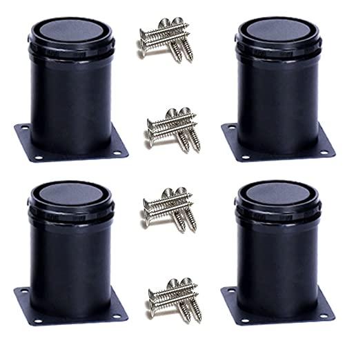 MNARFGT 4/Patas De Sofá Ajustables,Patas De Soporte De Muebles De Acero Inoxidable Grueso,Patas De Mesa De Centro,Pies De Cama,Puede Ajustar con PrecisióN 0~15 MM(Size:25CM,Color:Negro)
