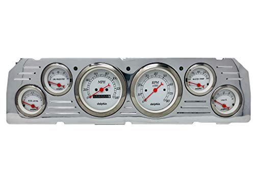 Dolphin Gauges 1964 1965 1966 Chevy Truck 6 Gauge Dash Cluster Panel Set Mechanical White