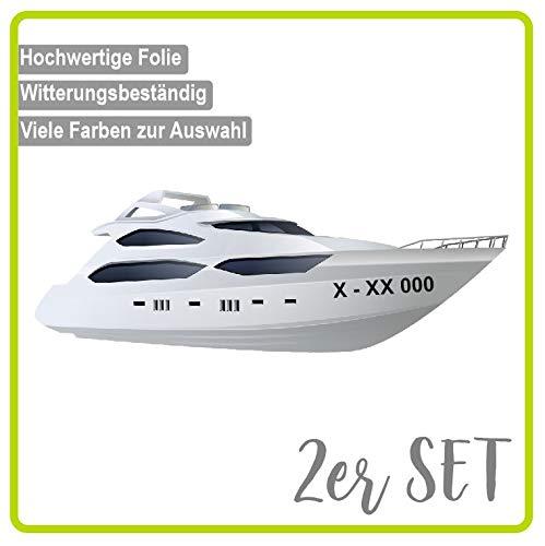 Dinger-Design Bootskennzeichen - 2 Stück Boot Kennzeichen - 10cm Höhe - Boot Name Beschriftung Aufkleber Kennzeichen (Schwarz)
