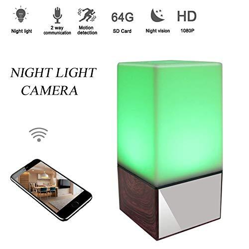 Balscw-J 1080P Noche luz Oculta Spy lámpara cámara WiFi HD Nanny CAM con visión Nocturna/detección de Movimiento/cámara de Seguridad de Vista en Tiempo Real para el hogar y la Oficina