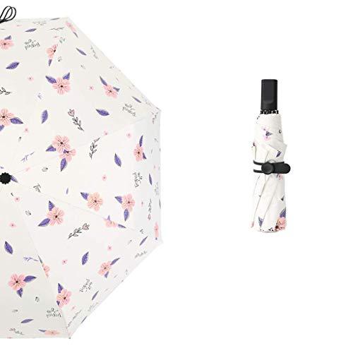 YNHNI Cinco Pliegue el Paraguas Sol Paraguas UV Protección Ultra Light Compact Sombrilla portátil Tres Pliegue Paraguas Paraguas Hembra Doble Uso,Portátil (Color : White, Size : Fully Automatic)