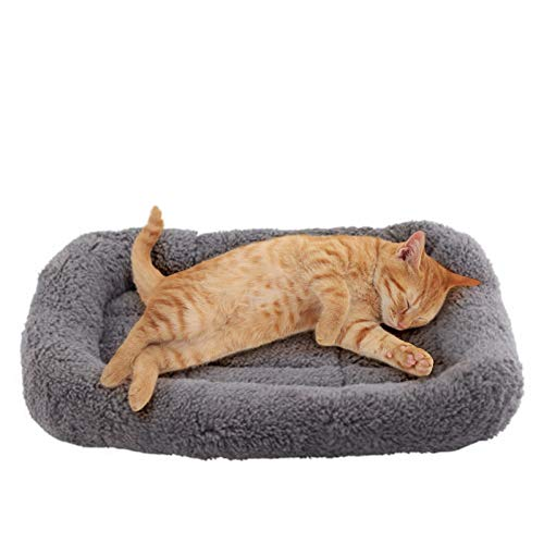 Namsan Katzenbett Hundebett Sanft Katzenkissen Plüsch Wärmematte für Kleinen Hunde/ Katze/ Hasen, 42CM X 28CM, Gray