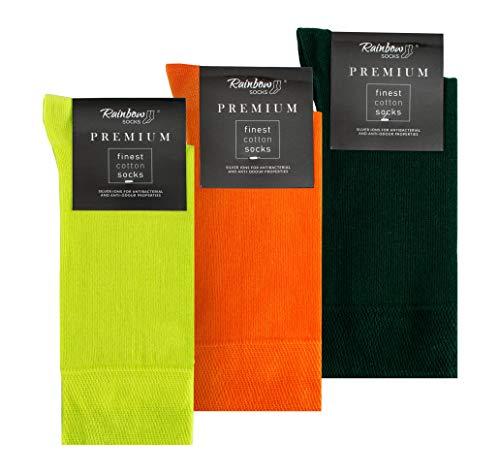 Rainbow Socks - Hombre Elegantes Calcetines Antibacterianos con Iones de Plata - 3 Pares - Limon Amarillo Naranja Botella Verde - Talla 42-43