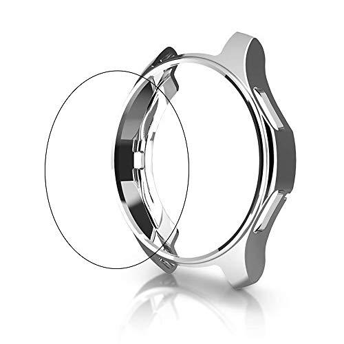 Leetoyi Suave Plated TPU Funda + Protector de Pantalla Compatible para Samsung Galaxy Watch 42mm/46mm (Plata, 46mm)