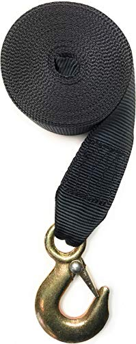 Winch Strap with Hook for Boat Trailer Heavy Duty Replacement Capacity 5,600. Lbs Black Nylon 2 inch Wide x 20 feet Long for Fishing Winch Transom Securing Tie Down Marine Galvanized Hook