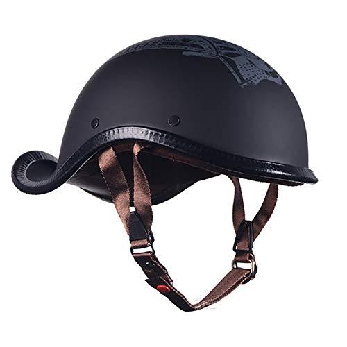HZIH Retro Cascos de Moto Half-Helmet,Casco Moto Abierto Ultraligero Alta Dureza Transpirable Adulto Hombres Mujeres Jet Cascos,ECE Homologado D,L=57~58cm