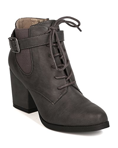 Michael Antonio Women Leatherette Almond Toe Lace Up Block Heel Bootie FI51 - Charcoal (Size: 6.5)