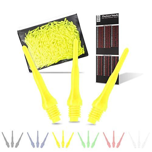 Tindola MAX Dartspitzen Kunststoff, Neongelbe Soft Dart Spitzen Plastik kurz, Darts Spitzen gelb Pfeile 2BA
