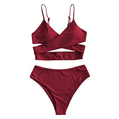 NISOWE Bikini para mujer con cintura alta, control de abdomen, dos piezas, traje de baño Vino L